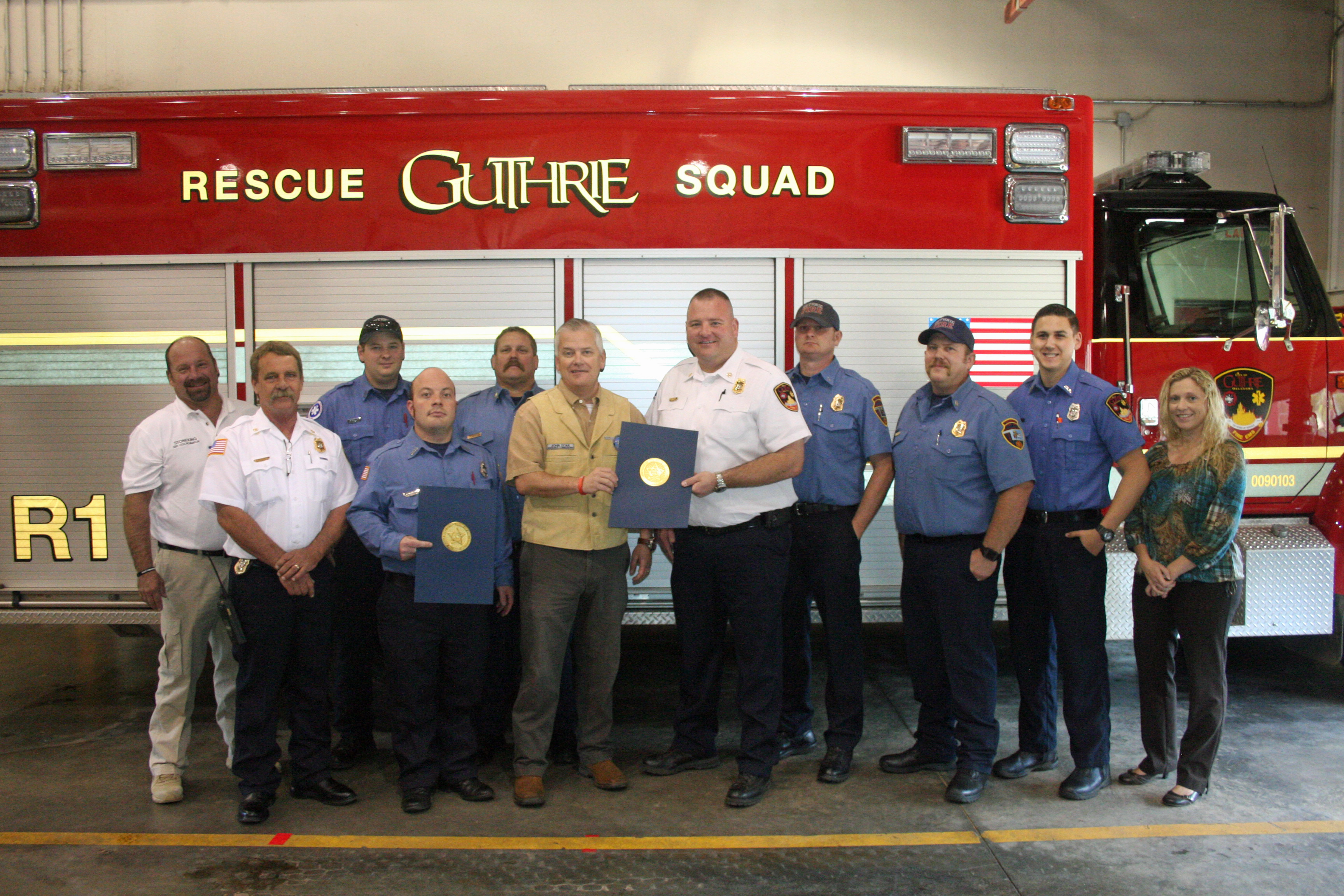 Commissioner Doak acknowledges Guthrie Fire Department
