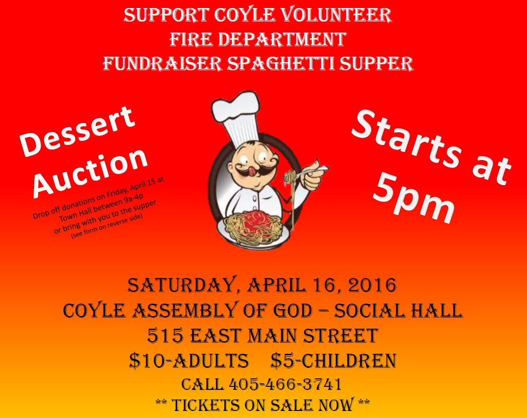 Spaghetti dinner to help raise money for Coyle Volunteer Fire Department