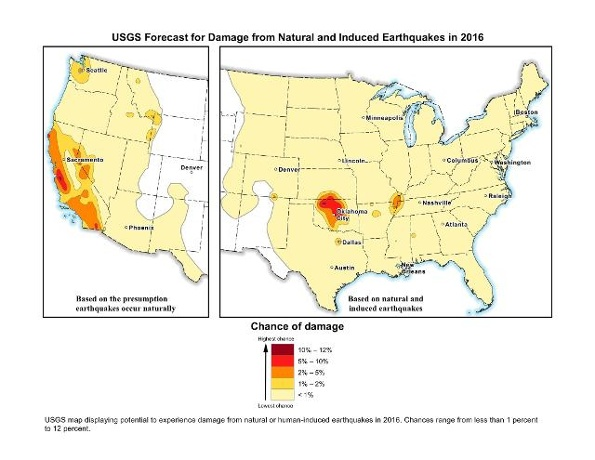 USGS reveals maps of Oklahoma as highest chance of damage; Governor says State Regulators are taking correct action