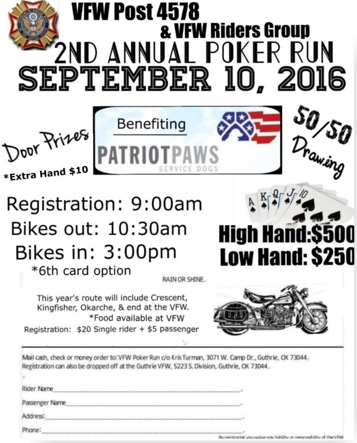 VFW hosting Poker Run to benefit PatriotPaws Service Dogs