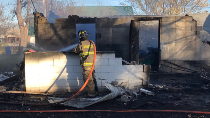 School storage shed erupts in flames