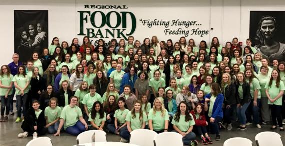 Rainbow Girls volunteer their weekend at the Regional Food Bank