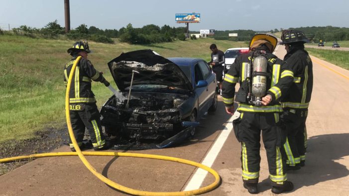 No injuries with car fire on I-35