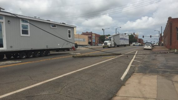 Update: Division St. reopened after mobile home struck utility lines