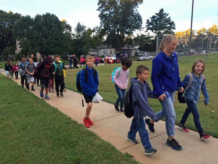 Guthrie students participate in Walk to School Day