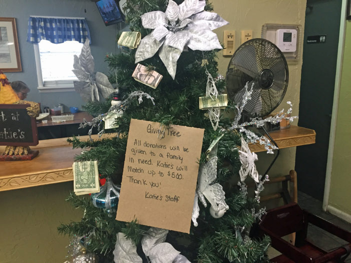 Money tree setup for fire victims at local restaurant