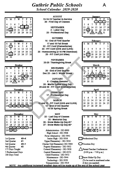 Guthrie BOE approves 2019-20 school calendar