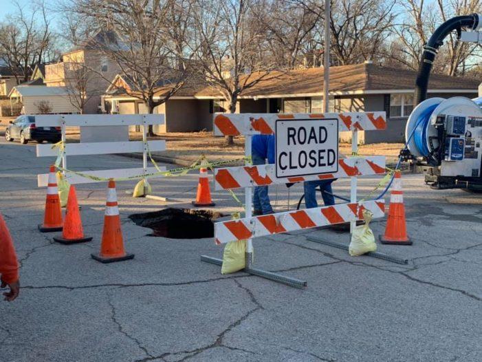 Intersection closed off after road collapses