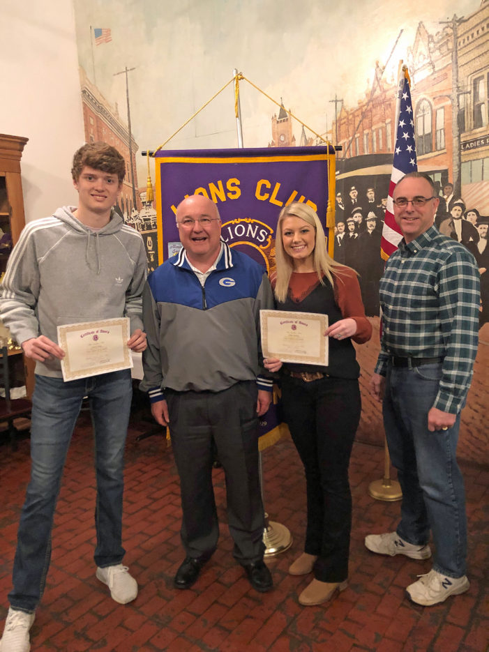 Bolding, Plagg named Lions Club Students of the Month