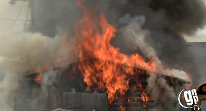 Video: Shed fire puts off heavy flames, black smoke